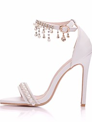cheap -Women's Wedding Shoes Pumps Open Toe Wedding Pumps Business Sexy Minimalism Wedding Party & Evening PU Pearl Buckle Tassel Solid Colored White
