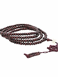 cheap -Men Wome 6 mm Natural Wooden Buddha Beads, 216 Black Beads Buddhist Rosary Yoga Necklace Bracelet Bangle (Red)