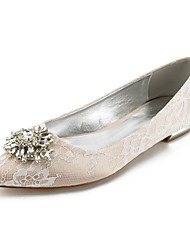 cheap -Women's Wedding Shoes Flat Heel Pointed Toe Wedding Flats Classic Sweet Wedding Party & Evening Lace Rhinestone Crystal Solid Colored White Champagne Ivory