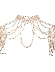 cheap -Simulated Pearl Body Statement Necklace for Women, Fashion Collar Bib Necklaces Fashion Costume Jewelry Necklace