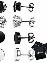 cheap -stainless steel stud earrings cz huggie piercing for men women silver tone black tone 6mm