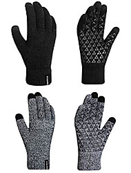 cheap -Winter Gloves for Women and Men-2 Pack Knit Touch Screen Gloves-Anti Slip Silicone Gel-Thermal Soft Wool Linning-Elastic Cuff Gloves (L, Black+Grey)