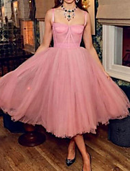 cheap -A-Line Celebrity Style Vintage Engagement Prom Dress Spaghetti Strap Sleeveless Tea Length Tulle with Pleats 2021