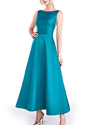 cheap -A-Line Beautiful Back Elegant Prom Formal Evening Dress Boat Neck Sleeveless Ankle Length Satin with Sleek 2021