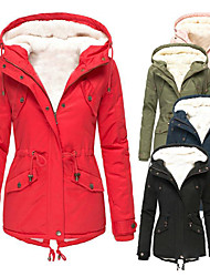 cheap -women drawstring hoodie coat warm inside fleece thick slim zipper outerwear tops