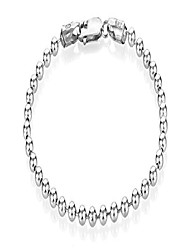 cheap -4mm oxidized plated silver round beaded link bracelet, 9 inches + jewelry cloth & pouch