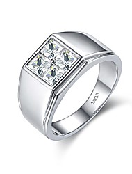 cheap -Silver Men Rings 18K White Gold Plated Wedding Jewelry For Bridegroom (P)