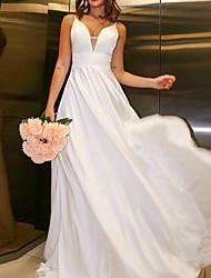 cheap -A-Line Wedding Dresses V Neck Sweep / Brush Train Chiffon Charmeuse Sleeveless Simple Beach with Lace Pleats 2021