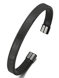 cheap -Elastic Adjustable Black Stainless Steel Mesh Cable Bangle Bracelet for Men Women