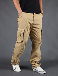 cheap -Men's Basic Cargo Comfort Moisture Wicking Breathable Pants Tactical Cargo Plus Size Cotton Slim Casual Pants Solid Color Full Length Classic Pocket Gray Green Grass Green Army Green Khaki Black