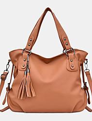 cheap -women pu leather casual large capacity tassel handbag crossbody bag shoulder bag