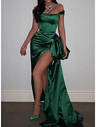 cheap -Sheath / Column Celebrity Style Sexy Prom Formal Evening Dress Off Shoulder Sleeveless Sweep / Brush Train Satin with Split 2021