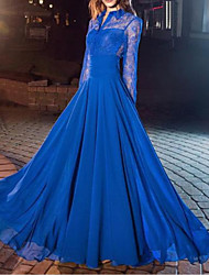 cheap -A-Line Empire Elegant Wedding Guest Formal Evening Dress Shirt Collar Long Sleeve Floor Length Chiffon Lace with Ruched 2021