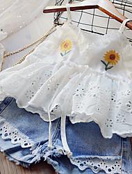 cheap -Kids Girls' Clothing Set Sleeveless White Blushing Pink Floral Lace Print Daily Wear Active Basic Regular