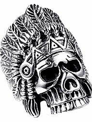 cheap -Stainless Steel Indian Chief Biker Ring Native American Skull Headdress Ring,Size 7