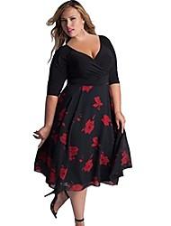 cheap -women's 3/4 sleeve dress large - purple - 5xl