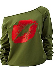 cheap -Women's Sexy Pullover Lips Print Casual Off The Shoulder Slouchy Shirt (Green+Red, XL)