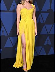 cheap -Sheath / Column Celebrity Style Elegant Prom Formal Evening Dress One Shoulder Sleeveless Floor Length Chiffon with Pleats Split 2021