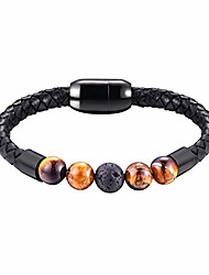 cheap -4 tiger eye agate beads and black lava rock relaxed healing bracelet lucky men women waterproof genuine leather bracelets volcanic stone jewelry with stainless steel magnetic clasp