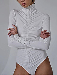 cheap -Ballet Leotard / Onesie Ruche Women's Training Performance Long Sleeve Natural Elastane