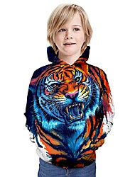 cheap -Kids Boys' Active Tiger Graphic 3D Animal Print Long Sleeve Hoodie & Sweatshirt Orange