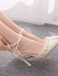 cheap -Women's Wedding Shoes Stiletto Heel Pointed Toe Wedding Pumps Vintage Sexy Minimalism Wedding Party & Evening PU Crystal Pearl Sparkling Glitter Solid Colored Color Block White Beige