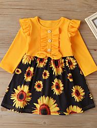 cheap -Kids Little Girls' Dress Daisy Floral Graphic Ruffle White Black Above Knee Long Sleeve Vintage Boho Dresses Regular Fit