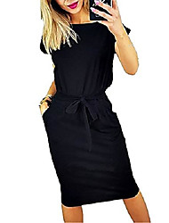 cheap -women's casual pencil short sleeve sheath belted dress with pockets - black - 3x