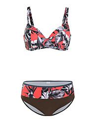 cheap -Women's Bikini Tankini Swimsuit Racerback Open Back Print Color Block Abstract Black Swimwear Padded Strap Bathing Suits New Rustic Sweet / 2 Piece / Tattoo / Padded Bras / Slim