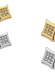 cheap -Gold, Silver Tone 10mm Rhinestone Square Shape Magnetic Stud Earring XE1134 (Gold & Silver Color (2 Pair))