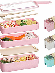 cheap -900ml Portable Lunch Box 3 Layer Wheat Straw Bento Boxes Microwave Dinnerware Food Storage Container Foodbox 3sets 1set