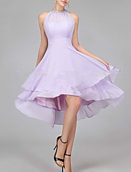 cheap -A-Line Flirty Elegant Homecoming Cocktail Party Dress Halter Neck Sleeveless Asymmetrical Chiffon with Crystals Tier 2021