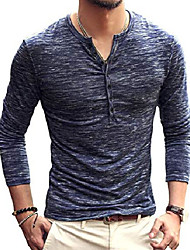 cheap -Mens Casual Slim Fit Basic Henley Long Sleeve T-Shirt (Medium, Blue)