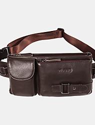 cheap -men genuine leather retro multi-carry 7 inch phone bag sport chest bag cross body bag