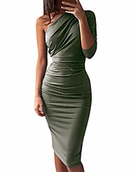 cheap -womens pure color party dress, sexy fashion dress ladies holiday knee-length dress swing dress sundress evening gown pencil dress prom dress(army green,3xl)