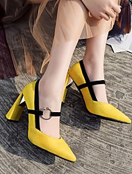 cheap -Women's Wedding Shoes Chunky Heel Pointed Toe Wedding Daily PU Synthetics Yellow Red Brown