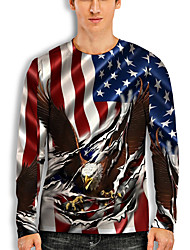 cheap -Men's T shirt 3D Print Graphic Animal Print Long Sleeve Daily Tops Basic Casual White Blue Red
