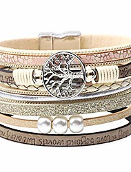 cheap -boho tree of life multilayer leather wrap bracelet,handmade braided magnetic buckle gorgeous cuff casual bangle