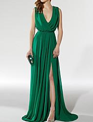 cheap -A-Line Empire Sexy Wedding Guest Formal Evening Dress V Neck Sleeveless Sweep / Brush Train Chiffon with Pleats Split 2021