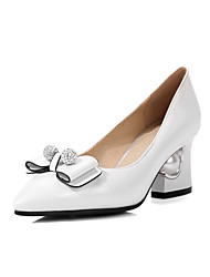 cheap -Women's Heels Chunky Heel Pointed Toe Sexy Daily Walking Shoes PU Rhinestone Bowknot Pearl Solid Colored White Black Red