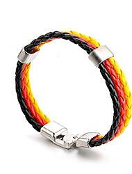 cheap -National Flag Bracelet Braided Leather Cuff Men Women Soccer Fan Wristband (Germany)