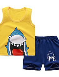 cheap -Kids Boys' Sleepwear Tank & Shorts Clothing Set Cartoon Striped Print 2 Piece Print Yellow Gray Active Basic Comfortable