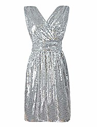 cheap -Wedding Party Women Glitter Sequined Gown Sexy V Neck Sleeveless Midi Dress Apricot Pink XXL