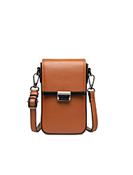 cheap -Women's Bags PU Leather Mobile Phone Bag Solid Color 2021 Daily Holiday Red Brown Black Purple Brown