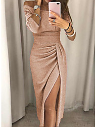 cheap -Sheath / Column Sparkle Sexy Party Wear Prom Dress Off Shoulder Half Sleeve Ankle Length Jersey with Ruched Split 2021