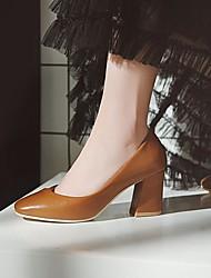 cheap -Women's Wedding Shoes Chunky Heel Square Toe Wedding Daily PU Synthetics Almond Brown