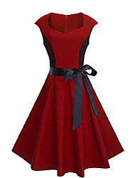cheap -women's vintage chic lace patchwork drop shoulder ribbon swing dress a025 (uk 10 = size m,dark red)