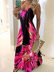 cheap -Women's Maxi long Dress - Sleeveless Floral Print Summer Plus Size Hot Casual Holiday Beach Slim 2020 Blue Red Fuchsia Green Gray S M L XL XXL 3XL 4XL 5XL