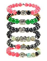 cheap -Natural Stone Lava Spiritual Beads Alloy Buddha Charm Bracelet Unisex (Style 6pcs)