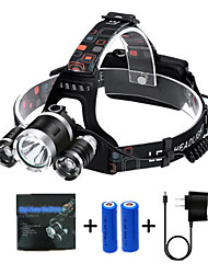 cheap -T1 Headlamps 150 lm LED LED 3 Emitters 4 Mode with Batteries and Chargers Rotatable Portable Professional Camping / Hiking / Caving Everyday Use Cycling / Bike